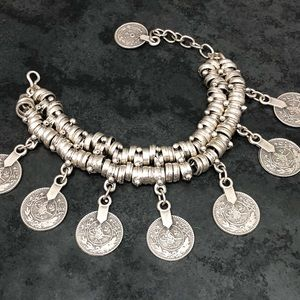 Jewelry - NEW Boho Turkish Silver-tone Coin Drop Bracelet